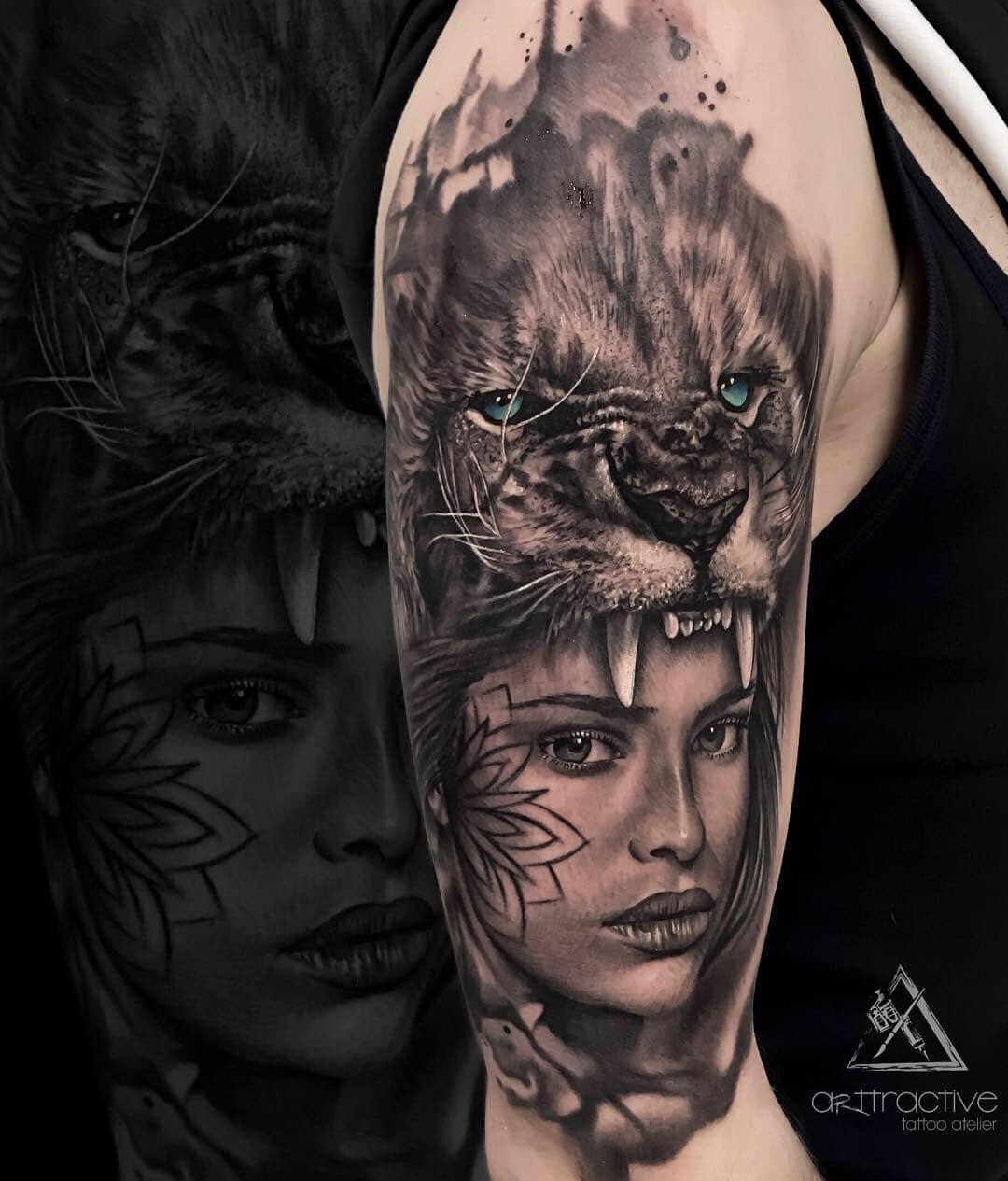 Woman Feat Lion Arttractive Tattoo Atelier